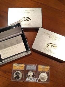 2006 20th ANNIVERSARY AMERICAN SILVER EAGLE COIN SET MS70 PF70 Rev PF70 ANACS