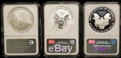 2006 3 Coin American Silver Eagle 20th Anniversary Set NGC MS69, PF69, PF70