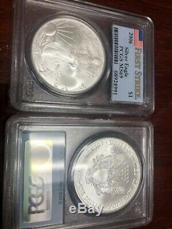 2006 AMERICAN EAGLE Silver PCGS MS69 FIRST STRIKE 1 ounce Coins (9 coins)