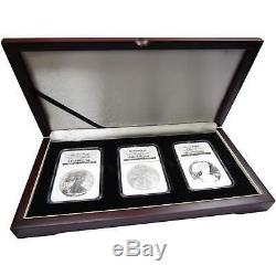 2006 American Silver Eagle 20th Anniversary 3 Coin Set MS69 PF69 Ultra Cameo NGC