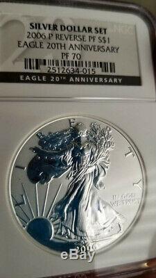 2006 American Silver Eagle 20th Anniversary Set NGC 70 MS PF & Reverse PF