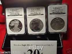 2006 American Silver Eagle 20th Anniversary Set. NGC BLACK LABEL MS70, RP70, PR70