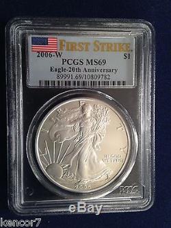 2006 American Silver Eagle 20th Anniversary Set PCGS First Strike MS/PR/DCAM 69