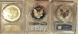 2006 Silver American Eagle 20th anniversary set. PCGS PR70, RP70, MS70 FS
