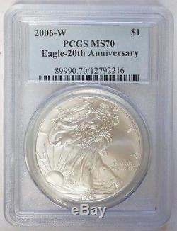 2006 W $1 American Silver Eagle 20th Anniversary Set 1 oz PCGS MS70