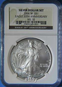 2006 W 20th Anniversary American Silver Eagle ASE 1oz. 999 Coin NGC Graded MS70