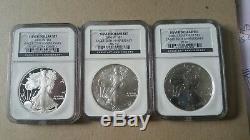 2006 W 20th Anniversary Silver American Eagle Dollar Set NGC MS69 / PF69 / PF69