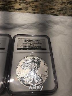 2006 W 20th Anniversary Silver American Eagle Dollar Set NGC MS70 / PF70 / PF70