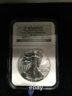 2006 W 20th Anniversary Silver American Eagle Dollar Set NGC MS70, PF70, PF70 UC