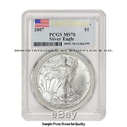 2007 $1 Silver Eagle PCGS MS70 First Strike American Bullion 1oz one dollar coin