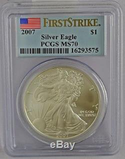 2007 American Silver Eagle Dollar Pcgs Ms70 Uncirculated First Strike Coin