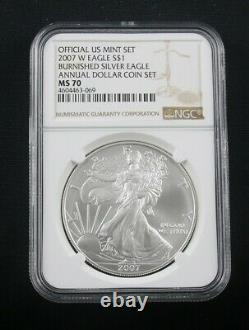 2007 W Annual Dollar Coin Set Burnished American Silver Eagle Ngc Ms 70