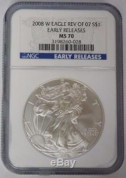 2008 W $1 1oz American Silver Eagle NGC MS70 Early Release Reverse of 07