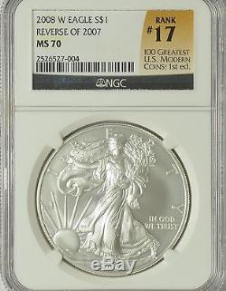 2008-W $1 American Silver Eagle NGC MS 70 Reverse of 2007 U. S. Coin (#S684)