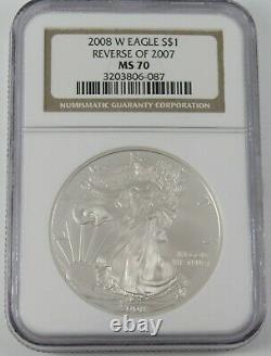 2008 W $1 American Silver Eagle NGC MS70 Reverse of 2007 3203806-087