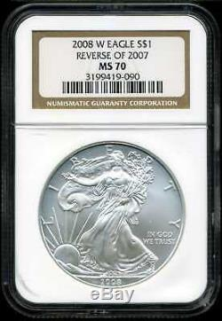 2008-W $1 Reverse of 2007 Silver American Eagle MS70 NGC 3199419-090