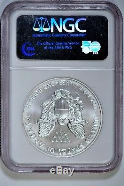 2008-W $1 Reverse of 2007 Silver American Eagle NGC MS70 #002