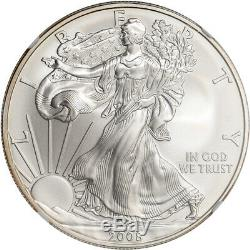 2008-W American Silver Eagle Burnished Reverse of 2007 NGC MS69