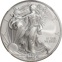 2008-W American Silver Eagle Burnished Reverse of 2007 NGC MS70