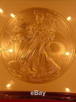 2008-W American Silver Eagle REVERSE OF 2007 withCase! $1 NGC MS70! FLAWLESS