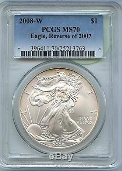 2008-W American Silver Eagle Reverse of 2007 Coin PCGS MS 70 Certified JR479