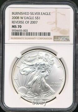 2008-W Rev.'07 Burnished Finish $1 ASE Silver Eagle NGC MS 70 RARE