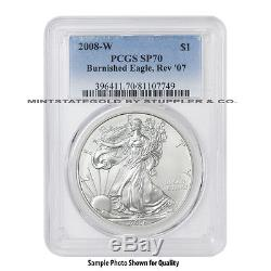 2008-W Rev07 $1 Silver Eagle PCGS SP70/MS70 Burnished American Modern Issue coin