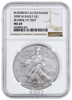 2008-W (Reverse of 07) 1 Oz Burnished American Silver Eagle NGC MS69 SKU17899