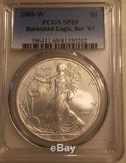 2008-W Reverse of 2007 American Eagle Silver Dollar PCGS MS 69 With OGP & COA