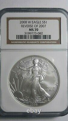 2008 W Reverse of 2007 American Silver Eagle 1oz NGC Graded MS70