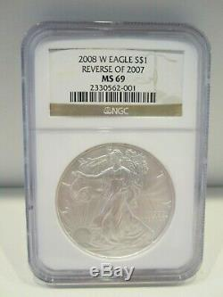 2008 W Reverse of 2007 American Silver Eagle NGC MS69 Rare Key Date