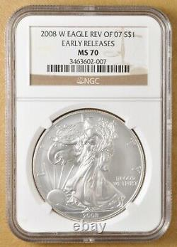 2008 W Reverse of 2007 Burnished American Eagle Silver Dollar NGC MS70