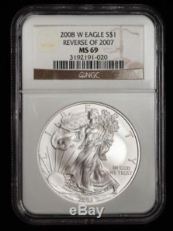 2008-W Reverse of 2007 Burnished American Silver Eagle, Graded NGC MS69