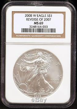 2008-W Reverse of 2007 Burnished Silver American Eagle NGC MS69