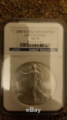 2008 W Reverse of 2007 Silver American Eagle NGC MS70 Early Release