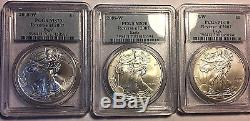 2008-W Reverse of 2007-W (Burnished) Silver American Eagle PCGS MS-70