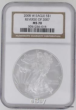 2008-W Silver American Eagle Dollar $1 NGC MS70 Reverse of 2007 (3051256-015)