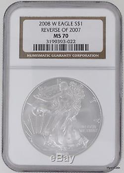 2008-W Silver American Eagle Dollar $1 NGC MS70 Reverse of 2007 (3199393-022)