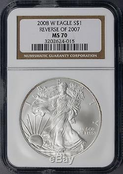 2008-W Silver American Eagle Reverse of 2007 $1 NGC MS70