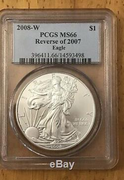 2008-W Silver American Eagle Reverse of 2007 PCGS-MS66