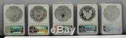 2011 $1 American Silver Eagle 25th Anniversary 5 Piece Set NGC MS70, PF70