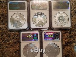 2011 $1 Silver American Eagle 25th Anniversary 5 Coin Set NGC PF MS 69 OGP WithCOA