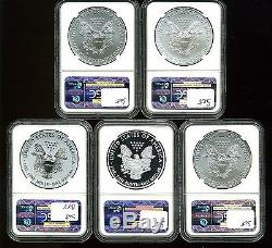 2011 $1 Silver American Eagle MS70/PF70/PF70 UC NGC 25th Anniversary 5-Coin Set