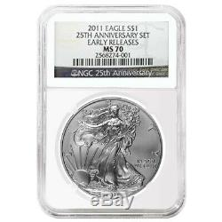2011 1 oz Silver American Eagle 5-Coin Set NGC MS 70 / PF 70 Early Releases