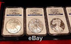 2011 25th Anniversary American Eagle Silver Coin Set Ngc Ms/pf69 Er -with Ogp