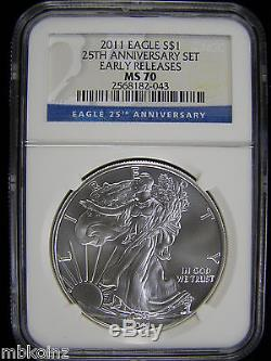 2011 25TH ANNIVERSARY AMERICAN EAGLE SILVER COIN SET NGC MS/PF70 Early Releases