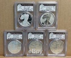 2011 25th Anniversary 5 Coin Silver American Eagle Set PCGS PR/MS70 First Strike