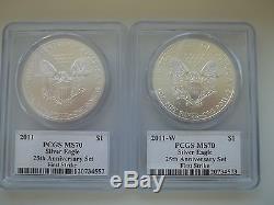 2011 25th Anniversary 5Coin Silver American Eagle Set PCGS PR70 MS 70
