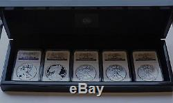2011 5-Coin American Silver Eagle 25th Anniversary Set NGC Early Release MS/PF70