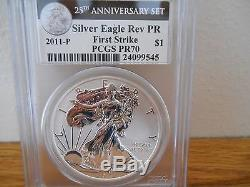 2011 American Silver Eagle 25th Anniversary Set Pcgs Ms/pr70 First Strike